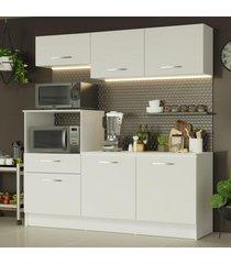 cozinha compacta madesa onix 180001 com armário e balcão - branco branco