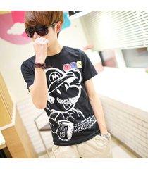 camiseta estampada de dibujos animados de verano para hombres, camiseta de manga corta con cuello en o