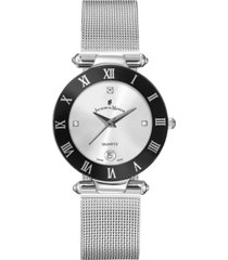 jacques du manoir ladies' silver stainless steel mesh with stainless steel case with black bezel and silver dial, 33mm