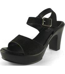 sandalia hebilla soft negra takones