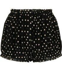 hilary polka-dot print shorts, black and cream