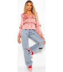jacquard blouse met ruches, rose