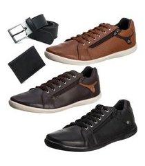 conjunto 3 sapatênis masculino + carteira slim + cinto resistente - ro01