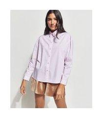 camisa ampla de algodão listrada manga longa mindset rosa claro