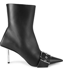 leather point-toe buckle booties