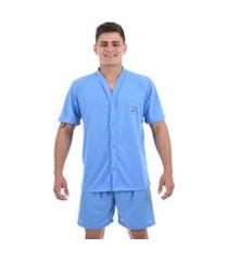 pijama 4 estações masculino adulto com botáo aberto short curto veráo conforto azul claro