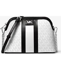 mk borsa a tracolla grande bombata a righe con logo - combo bianco (bianco) - michael kors