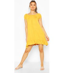 cap sleeve swing dress, mustard