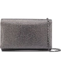 rené caovilla stud-embellished clutch bag - silver