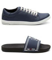 kit 1 par sapatênis 1 par chinelo masculino estilo casual azul e azul 44
