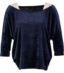 superstrash korter oversized blauw velvet shirt
