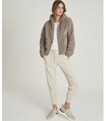 reiss jaxon - wool blend sherpa fleece jacket in mushroom, womens, size 14