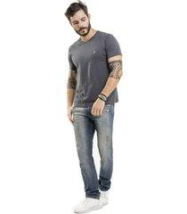 camiseta nogah basic gola v chumbo - cinza - masculino - algodã£o - dafiti