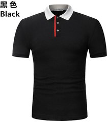 camiseta de solapa de casual tops hombre verano nuevo polo casual-negro