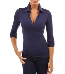 zanzea camisa con botones tops mujer solapa manga larga blusa delgada jersey azul marino -azul