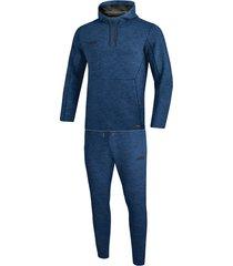 jako joggingpak met sweaterkap premium basics m9629-49 blauw
