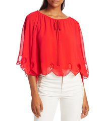 see by chloé women's batwing eyelet blouse - joy red - size 38 (6)