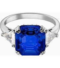 anello cocktail attract, azzurro, placcatura rodio