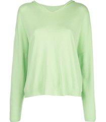 apparis aubrey fine knit hoodie - green