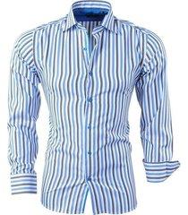 bravo jeans heren overhemd gestreept slim fit - blauw wit