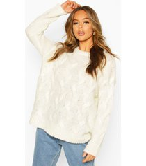 all over cable knit longline sweater, ivory