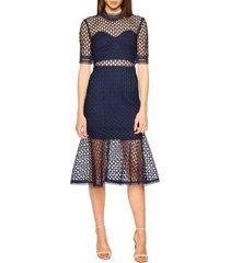 women's bardot fiona mesh lace trumpet dress, size small - blue