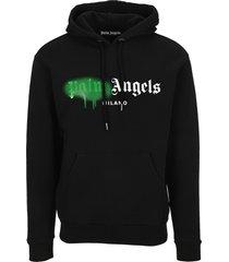 palm angels milano sprayed logo hoodie