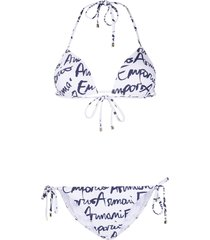 emporio armani hand written logo-print triangle bikini - white
