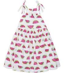 little girl's & girl's watermelon-print stretch cotton dress