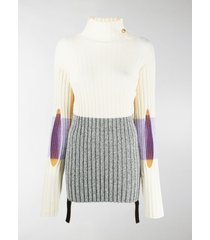 moncler genius colour-blocked ribbed-knit turtleneck sweater