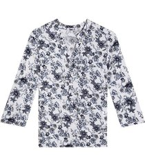blusa manga 3/4 estampado floral color azul, talla l