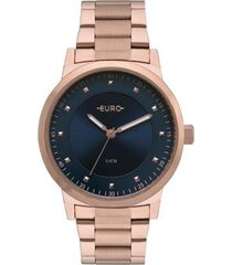 relógio euro bicolor trendy feminino