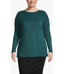 lane bryant women's pointelle knit boat neck sweater 14/16 atlantic deep