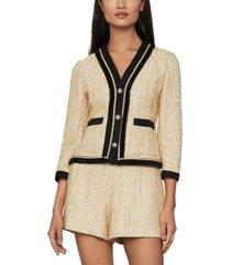 bcbgmaxazria contrast-trim tweed blazer