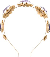 dolce & gabbana crystal floral headband - purple