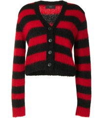 alanui horizontal-stripe cardigan - black