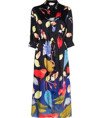 peter pilotto floral print midi shirt dress - black