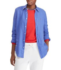 blusa mujer relaxed fit linen azul polo