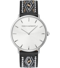 rebecca minkoff women's major black embroidered leather strap watch 40mm