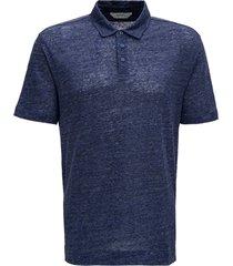 z zegna blue linen polo shirt