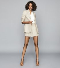 reiss lauren - high waisted tailored shorts in oatmeal, womens, size 12