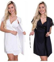 kit 2 camisolas amamentação com robe estilo sedutor 1 branca e 1 preta - es206-207-v10