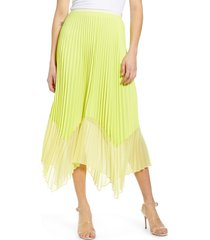 women's french connection ali colorblock pleated skirt, size 12 - yellow