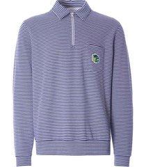 ymc sugden cotton loopback stripe zip sweatshirt   ecru/navy   p7qar-10