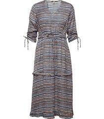 midi length dress with v-neck and ruffles jurk knielengte blauw scotch & soda