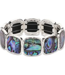 style & co silver-tone square stone stretch bracelet, created for macy's