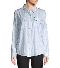 stripe button-front blouse