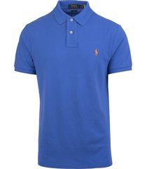man blue and orange slim-fit pique polo shirt