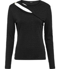 maglia a costine con cut-out intencel™ lyocell (nero) - bodyflirt