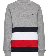 global stripe colorblock cn sweat-shirt trui grijs tommy hilfiger